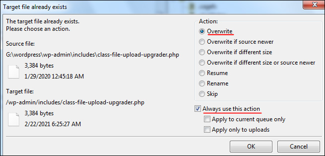 بازنویسی فایل های وردپرس و به روزرسانی