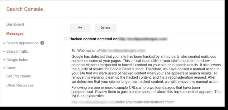 هشدار هک شدن در سرچ کنسول گوگل