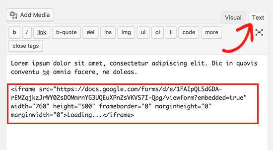 قرار دادن کد فرم در صفحه ویرایشگر متن