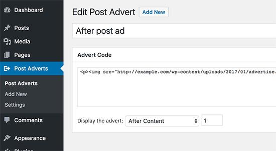 قرار دادن کد تبلیغ در Post Adverts